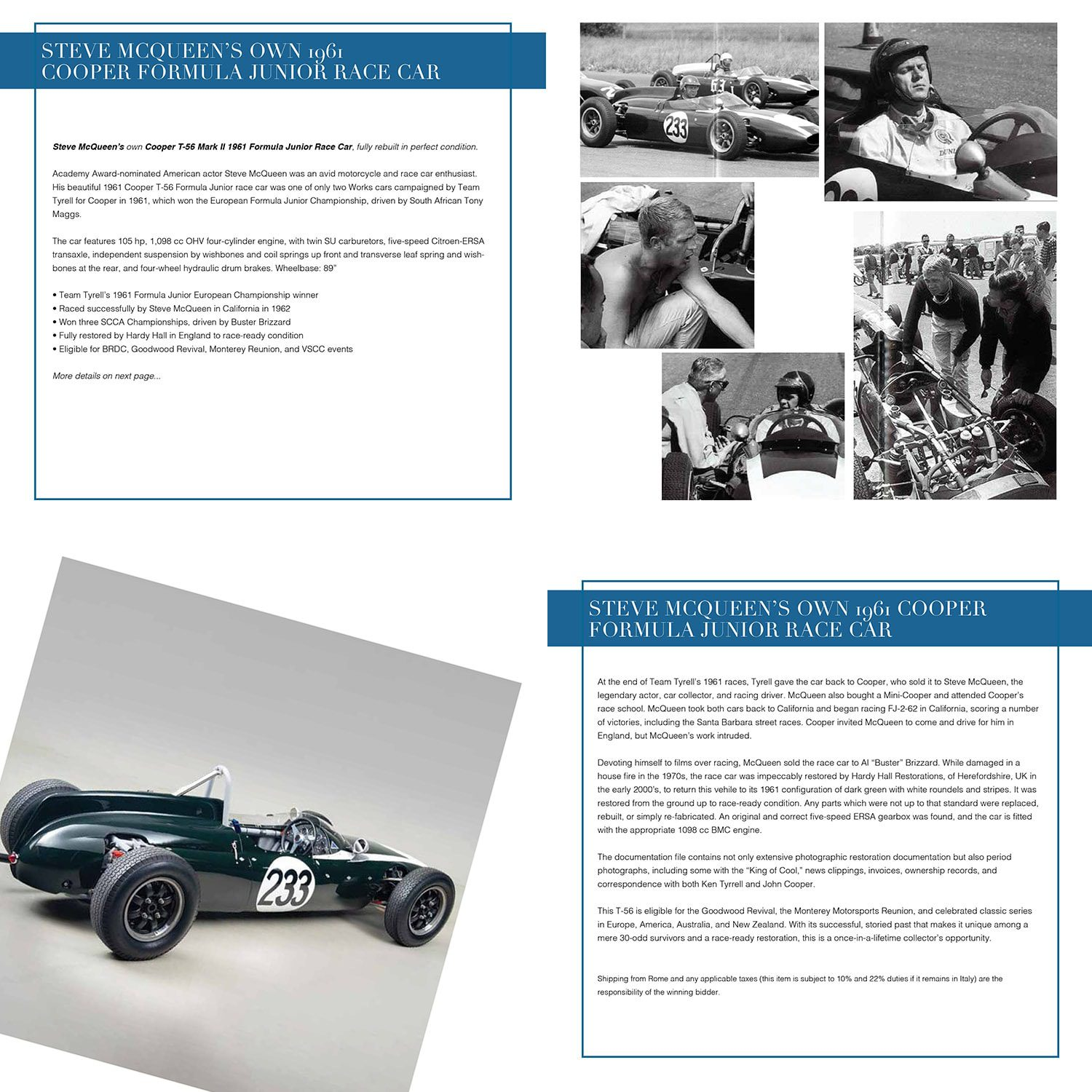 Steve McQueen's own 1961 Cooper Formula race car for Unicef auction, Capri July 31, 2021 by RUNWAY MAGAZINE