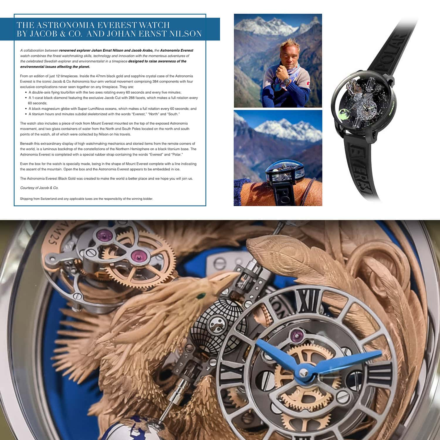 Astronomia Everest Watch by Jacob & Co and Johan Ernst Nilson for Unicef auction Gala Capri 2021 by RUNWAY MAGAZINE