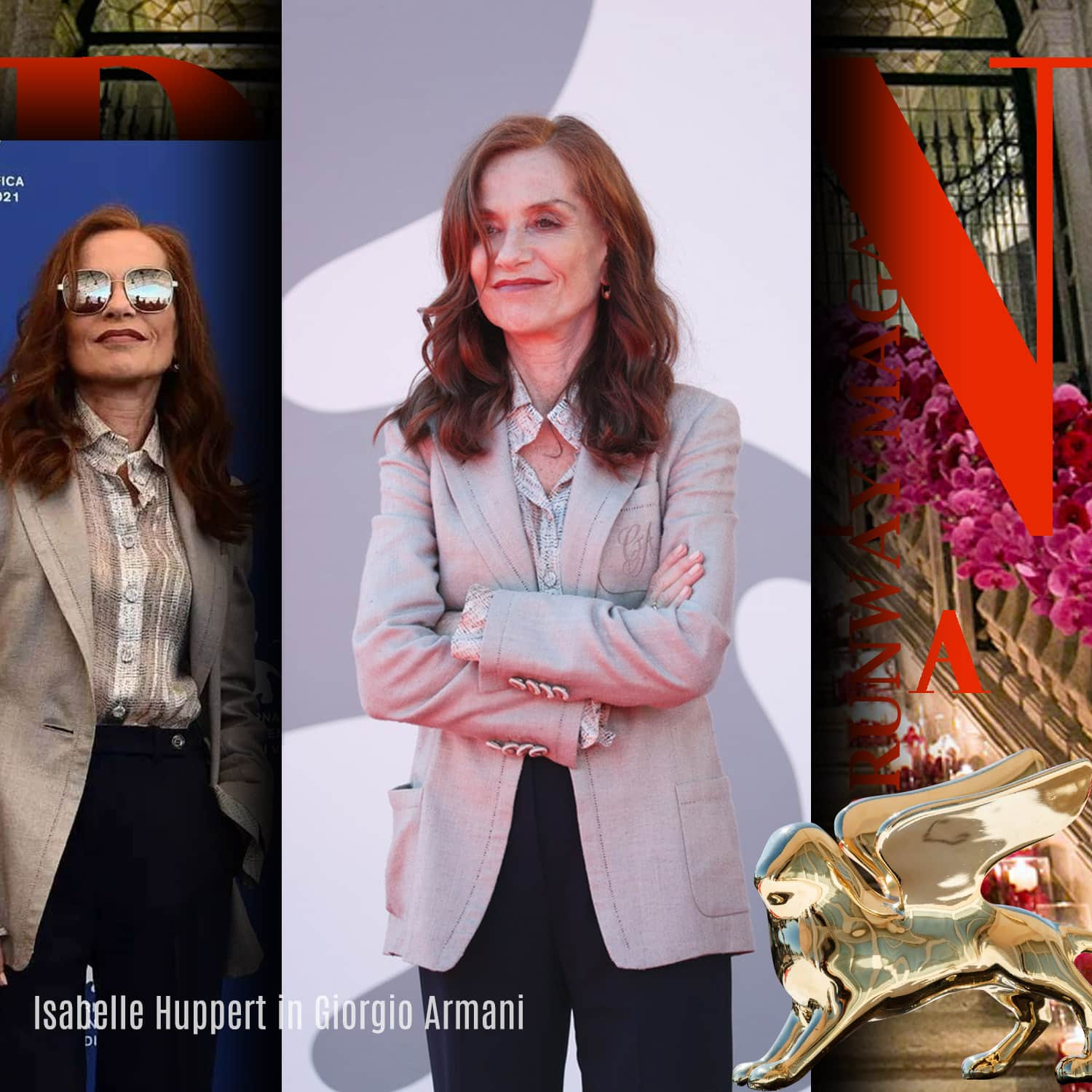 Isabelle Huppert in Giorgio Armani at 78th Venice International Film Festival by RUNWAY MAGAZINE