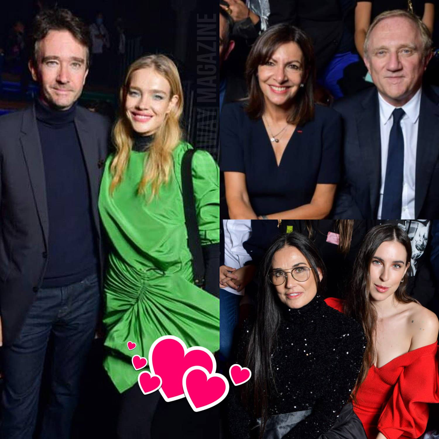 Tribute to Alber Elbaz - Demi Moore and Scout Willis, Anne Hidalgo and François-Henri Pinault, Natalia Vodianova and Antoine Arnault