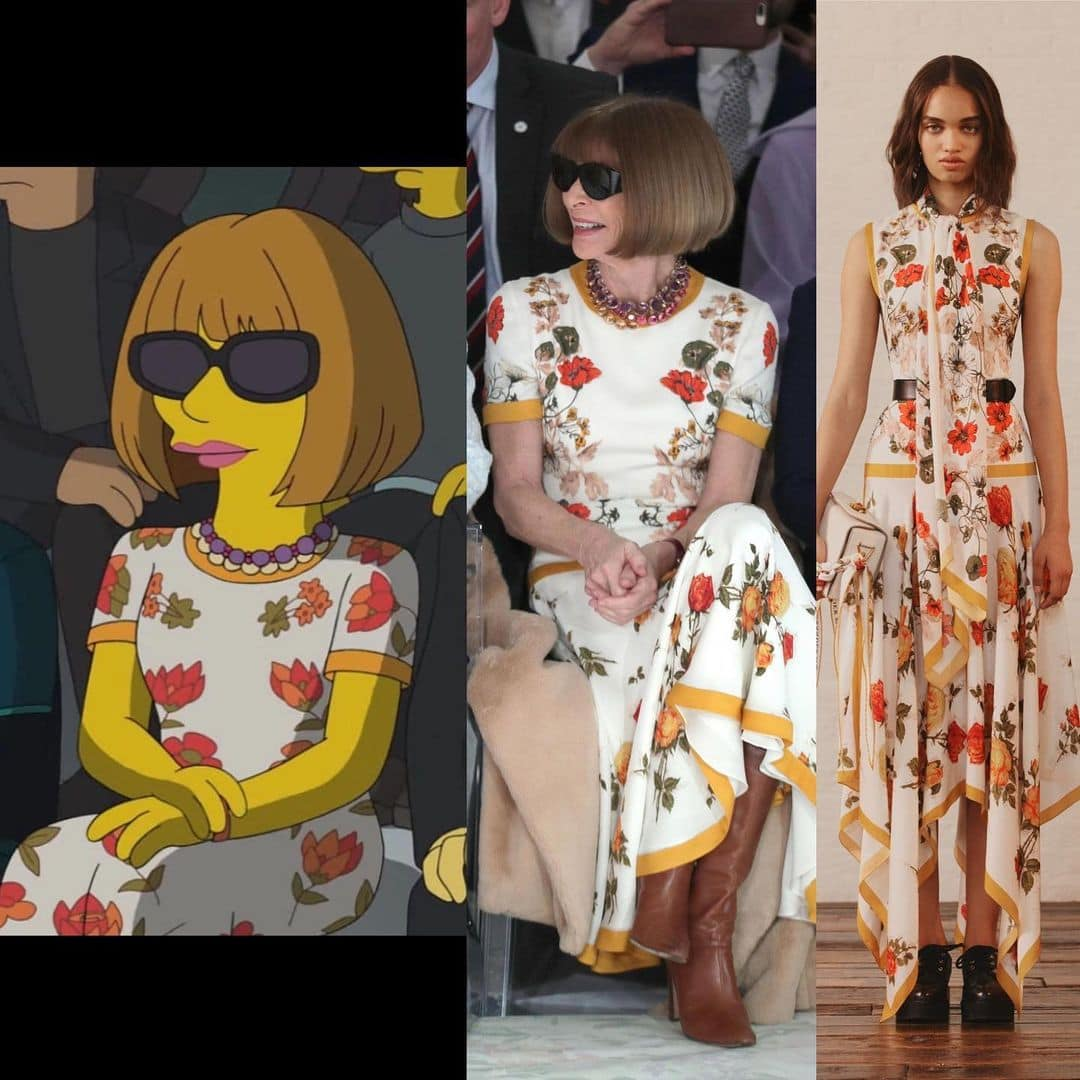 Anna Wintour in cartoon dress Alexander McQueen Resort 2018, illustrated by the Simpsons team